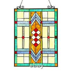 Stained Glass Tiffany Style Window Panels Arts & Crafts PAIR Handcrafted