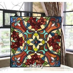 Stained Glass Window Panel 20 W x 20 H Handcrafted Victorian Tiffany Style