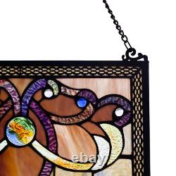 Stained Glass Window Panel Handcrafted Hanging Wall Decor Home Indoor Use 1 Pc