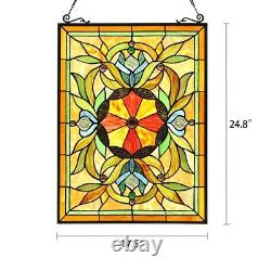Stained Glass Window Panel Handcrafted Victorian Tiffany Style 18 W x 25 H