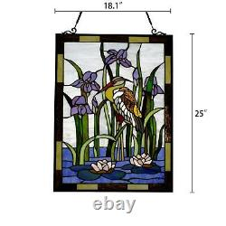 Stained Glass Window Panel Suncatcher Birds and Lillies Theme Handcrafted