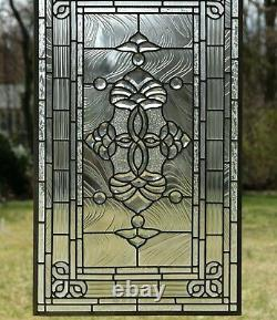 Stunning Handcrafted All Clear stained glass Beveled window panel 20.5 x 34