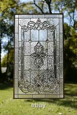 Stunning Handcrafted All Clear stained glass Beveled window panel, 20.5 x 34.5