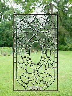 Stunning Handcrafted All Clear stained glass Beveled window panel, 20 x 34