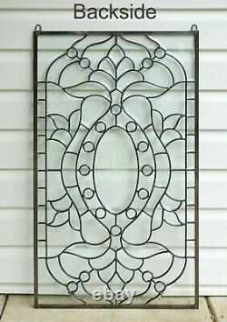 Stunning Handcrafted All Clear stained glass Beveled window panel 20 x 34