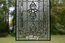 Stunning Handcrafted All Clear stained glass Beveled window panel, 20 x 34.25
