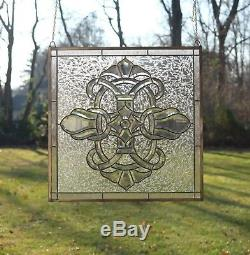 Stunning Handcrafted All Clear stained glass Beveled window panel, 24 x 24