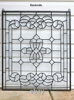 Stunning Handcrafted All Clear stained glass Beveled window panel, 24 x 28