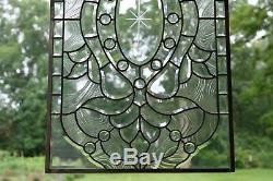 Stunning Handcrafted stained glass Clear Beveled window panel, 20 x 34