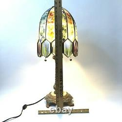 Table Lamp Handmade Stained Milk Glass Panels Sturdy Unique 26 Brass Base