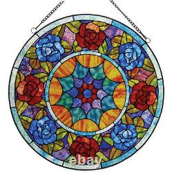 Tiffany Style Floral Roses Stained Cut Glass 22 Handcrafted Round Window Panel