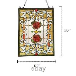 Tiffany Style Floral Stained Glass Window Panel Victorian 24.4 Handcrafted PAIR