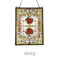 Tiffany Style Floral Stained Glass Window Panel Victorian 24.4 Tall Handcrafted