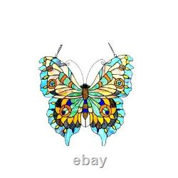 Tiffany Style Hand Crafted Aqua Multi Color Butterfly Stained Glass Window Panel