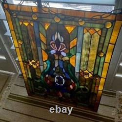 Tiffany Style Handcrafted Stained Glass Window Panel Ready to Hang- GORGEOUS