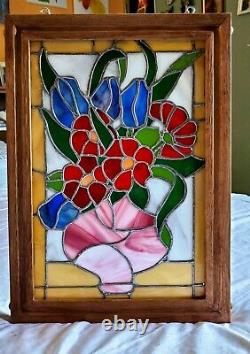 Tiffany Style Handcrafted stained glass panel in solid wood frame. 13 x 18