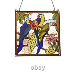Tiffany Style Parrot Birds Stained Glass Window Panel 24.8 Tall Handcrafted