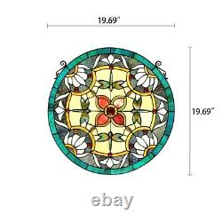 Tiffany Style Stained Glass 20 Round Floral Dragonfly Window Panel Handcrafted