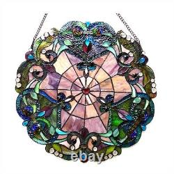 Tiffany Style Stained Glass 22 Round Window Panel Handcrafted Suncatcher