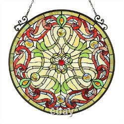 Tiffany Style Stained Glass 23.4 Round Window Panel Handcrafted Victorian