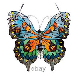Tiffany Style Stained Glass Butterfly Window Panel 20 X 21 Inches Handcrafted