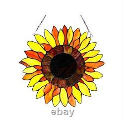 Tiffany Style Stained Glass Sunflower Window Panel 16 Diameter Handcrafted