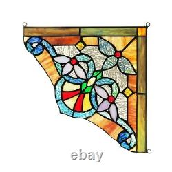 Tiffany Style Stained Glass Victorian Corner Window Panels 10 Handcrafted PAIR