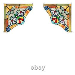 Tiffany Style Stained Glass Victorian Corner Window Panels 10 Handcrafted Set/2
