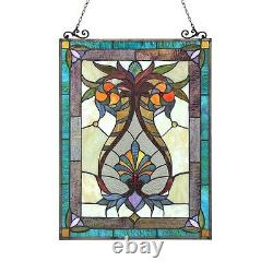 Tiffany Style Stained Glass Window Panel 17.5 X 25 179 PC Glass Handcrafted