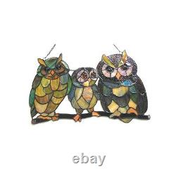 Tiffany Style Stained Glass Window Panel 17 x 11 Handcrafted Family Of Owls