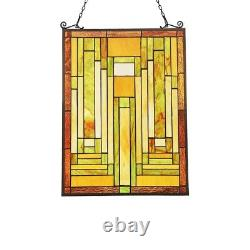 Tiffany Style Stained Glass Window Panel Arts & Crafts Handcrafted 25 x 18