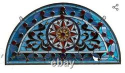 Tiffany Style Stained Glass Window Panel Half Circle Handcrafted