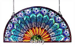 Tiffany Style Stained Glass Window Panel Half Moon Handcrafted Peacock Design