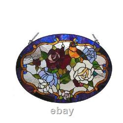 Tiffany Style Stained Glass Window Panel Handcrafted 24 Bird & Roses Floral