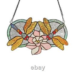 Tiffany Style Stained Glass Window Panel Handcrafted Dragonflies Suncatcher
