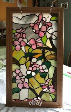 Tiffany Style Stained Glass Window Panel with wood frame -14 X 24Handcrafted