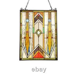 Tiffany Style Stained Glass Window Panels Mission Handcrafted 17.7 x 24 PAIR