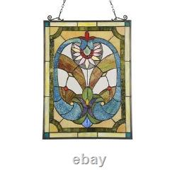 Tiffany Style Stained Glass Window Panels Victorian 24.6 Tall Handcrafted PAIR