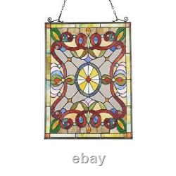 Tiffany Style Stained Glass Window Panels Victorian Handcrafted Matching PAIR