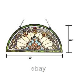 Tiffany Style Victorian Stained Glass Window Panel 24 Half Moon Handcrafted