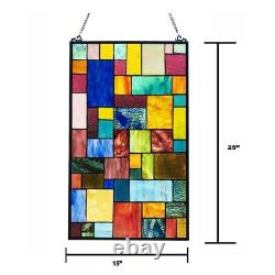 Tiffany-Style Window Panel Geometric Stained Glass Handcrafted 25 Height 15 W