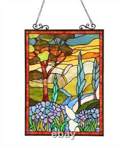 Tiffany-glass Handcrafted Stained Glass Floral Window Panel 18x24 ALMOS 260 cuts