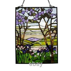 Tiffany-style Stained Glass VALLEY Vibrant Floral Window Panel 24 H Handcrafted