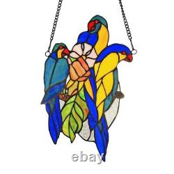 Tiffany-style Stained Glass Window Panel 13 T x 8 W Handcrafted BLUETAIL Birds
