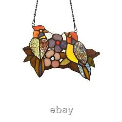 Tiffany-style Stained Glass Window Panel 6.5 T x 9 W Handcrafted Wren Birds