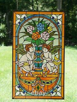 Two baby angel Handcrafted stained glass Jeweled window panel, 20 x 34