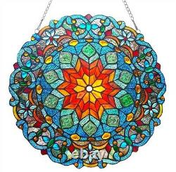Very Colorful Handcrafted 21 Round Tiffany Style Stained Glass Window Panel