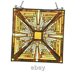 Victorian Handcrafted Stained Glass Windows Panels Hangings W=19.6 x H=20.6