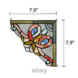 Victorian Tiffany Style Stained Glass Corner Window Panel 8 Handcrafted PAIR
