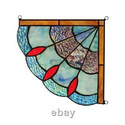 Victorian Tiffany Style Stained Glass Corner Window Panels 8 Handcrafted PAIR